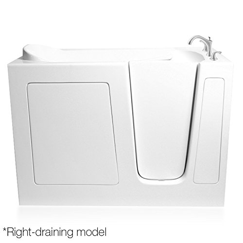ARIEL Bath EZWT-3054- Soaker-R 54 inch x 30 inch White Walk In Bathtub Right Side Drain (Soaker Tub Drain Kits compare prices)