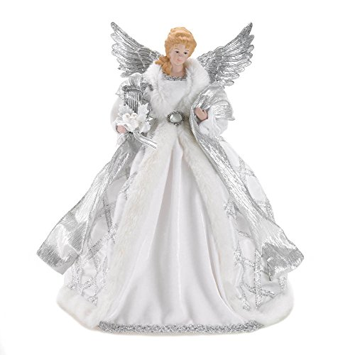 White and Silver Angel Christmas Tree Topper