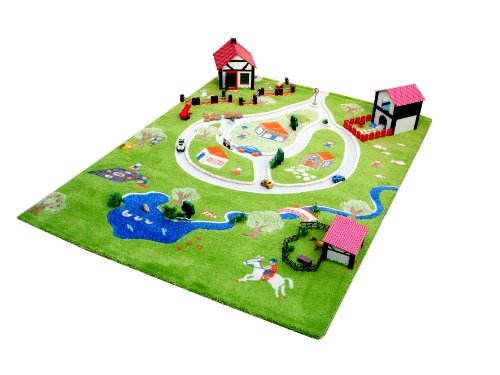 Little Helper Exclusivo Grande y Grueso - Alfombra para niños, tema finca con estanque y carretera tridimensional (134 x 180 cm)