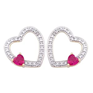 Gold Plated Sterling Silver Simulated Ruby and Diamond Accent Open Heart Earrings