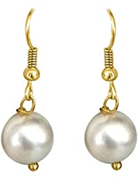 Surat Diamonds 6 Mm White Shell Pearl And Gold Plated Wire Hanging Earrings For Girls (SE260)