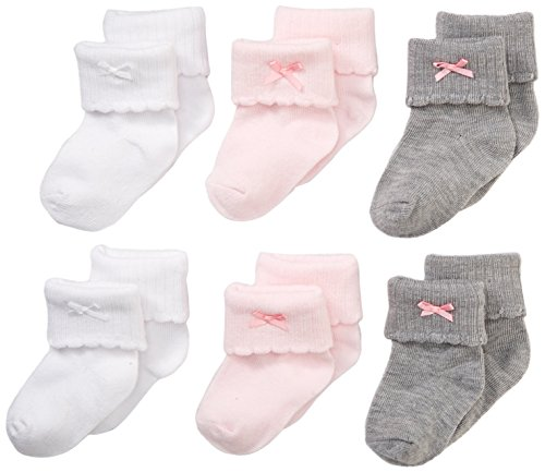 Nuby Baby Girl 6-Pack Super Soft Turn Cuff Sock Booties, 6-12 Months, Pink/Grey