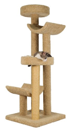"Molly and Friends ""Step Stool Sleeper"" Premium Handmade 4-Tier Cat Tree with Sisal, Model 2323, Beige"