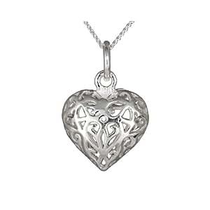 Ladies 'Filigree Collier Pendentif Coeur Ouvert, Chaîne gourmette en argent, longueur 46cm