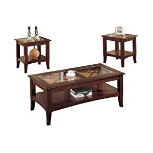 Sale Poundex 3 Piece Coffee Table Dark Cherry Sale Living Room Furniture