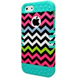 New Impact Hybrid Combo Hard Case Soft Rubber for Iphone 5 Rainbow Chevron Teal Blue Skin