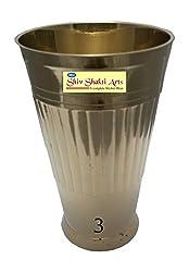 SHIV SHAKTI ARTS Handmade Pure Brass Heavy Gauge Glass with design of Lines
