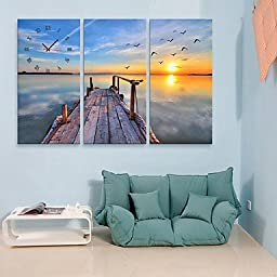 E-HOME The Bank Of The River Clock in Canvas 3pcs , 16\