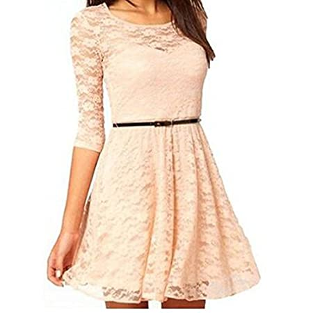 "Women's Ladies Elegant Sexy Round Neck 3/4 Sleeve Lace Dress With Belt <br /> Size: There are four sizes (S, M, L and XL) available for the following listing.<br /> Asian Size S-----US Size XXS (1)/Length 30.4""/Shoulder 12.1""/Sleeve 12.5""/Bust 27.3""/Waist 25..."