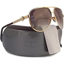 Alexander McQueen AMQ4156/S Aviator Sunglasses Gold w/Brown Gradient (0J5G) 4156 J5G 65mm