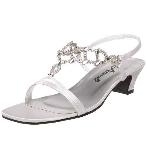 Annie Shoes Women's Allison Slingback,White Satin,7 WW US