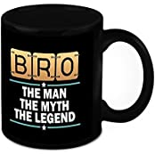 Mug For Brother - HomeSoGood My Bro Is A Legend Black Ceramic Coffee Mug - 325 Ml