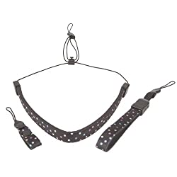 OP/TECH USA 3400241 Compact Strap- 3 Piece Set for Compact Cameras Includes Neck Strap, Wrist Strap and Finger Strap - Neoprene Trio (Dots)
