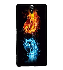 printtech Fire Ice Hands Punch Back Case Cover for Sony Xperia C5 Ultra Dual , Sony Xperia C5 E5553 E5506::Sony Xperia C5 Ultra