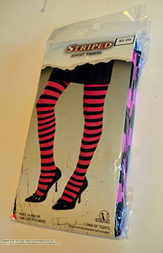 Black and Pink Striped Adult Tights / Stockings