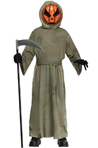 [8eighteen Spooky Pumpkin Ghoul Grim Reaper Child Costume] (Lady Reaper Plus Size Costumes)