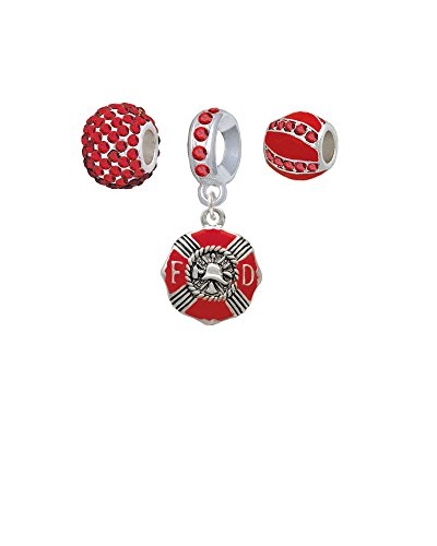 Red Enamel Fire Department Medallion - Sparkle Red Charm Beads (Set of 3)