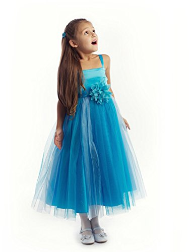 Fashion Plaza Girl's Satin Two-toned Tulle Flower Girl Princess Dress K0050