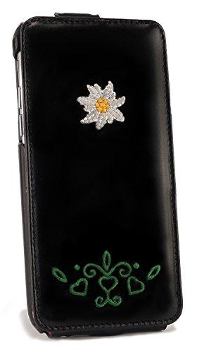 Echtleder-Spendlingwimmer-Trachten-Flipcase-Hlle-fr-iPhone-6-Case-Cover-schwarz-Edelweiss-Trachtenmuster-Stickerei-Oktoberfest-Edition