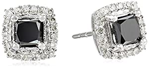 10k Black and White Diamond 1.20cttw Earrings