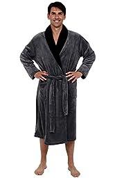 Del Rossa Men's Fleece Robe, Contrast Shawl Collar Bathrobe, Large XL Steel with Black (A0109STLXL)