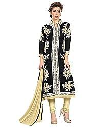 SR Women's Cotton Unstitched Dress Material (black top chiku b duptta