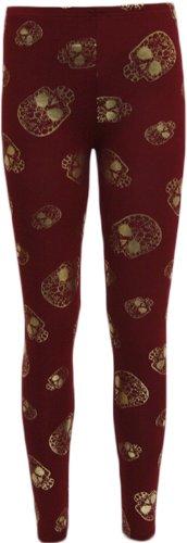 Womens Gold Skull Print Head Leggings Full Length Long Ladies Stretch - Wine - 12/14