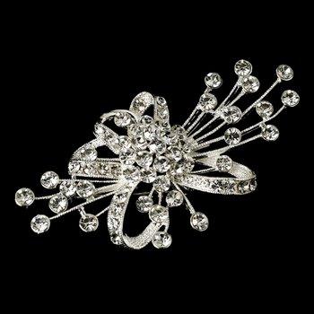 Elegant Silver Rhinestone Bridal Brooch Hair Clip