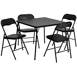 Amazon Com 5 Piece Black Folding Card Table And Chair Set