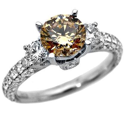 2.53ct Chocolate 3 Stone Round Diamond Engagement