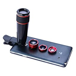Apexel 4 in 1 Camera Lens 12x Black Telephoto Lens/ Red Fisheye/ Wide Angle + Macro Lens with Universal Clip for iPhone iPad Samsung Galaxy Sony LG Motorola HTC