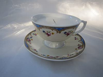 Blue Vintage Tea Cup Candle - Jasmine Scented