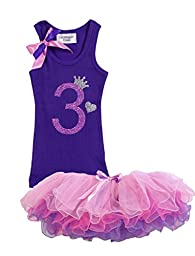 Baby Girls 3rd Birthday Toddler Tutu Tank Top Shirt Set Bubblegum Divas