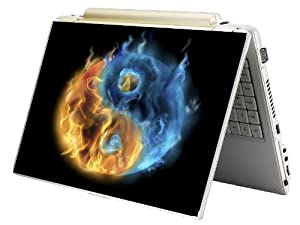 """Bundle Monster Laptop Notebook Skin Sticker Cover Art Decal - 12"""" 14"""" 15"""" - Fit HP Dell Asus Compaq - Flame Ying Yang"""
