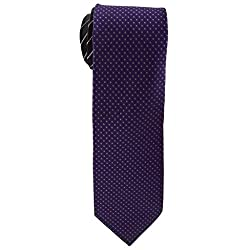 Cauvery Men's Pure Silk Dotted Design Necktie, 60 Inch by 5 Inch, Purple