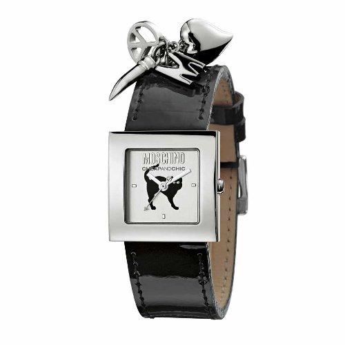 Moschino Watches MW0027 - Orologio da polso da donna, cinturino in pelle colore nero