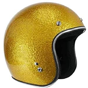 Outlaw Retro Gold Mega Flake Open Face Motorcycle Helmet Sz S