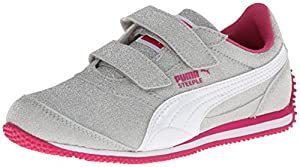 PUMA Steeple All Over Glitter V Sneaker (Toddler/Little Kid),PUMA Silver/White/Fuchsia Purple,11.5 M US Little Kid