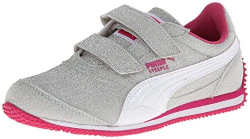 Puma Steeple All Over Glitter V Sneaker (Toddler/Little Kid),Puma Silver/White/Fuchsia Purple,2 M Us Little Kid front-1015657