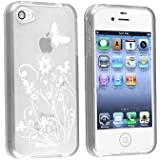 Silikonh�lle Handyschale Gel Case f�r das Apple iPhone 4S inkl. Displayfolie Butterfly Clear