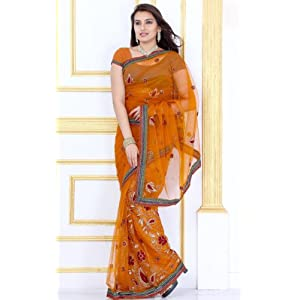 Orangish Yellow Net Saree