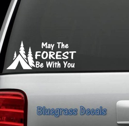 A1058 May The FOREST Be With You Camper Camping Decal Sticker for Truck SUV Window Tent Laptop Boat Trailer Hiking Trail ATV Reviews