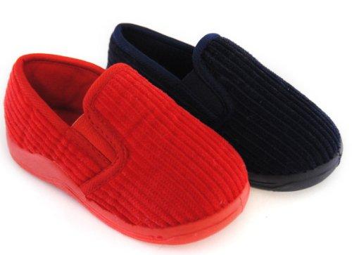 Kids Boys Toddler Classic Slip On Cord Style Fleece Lined Full Slipper FT0559