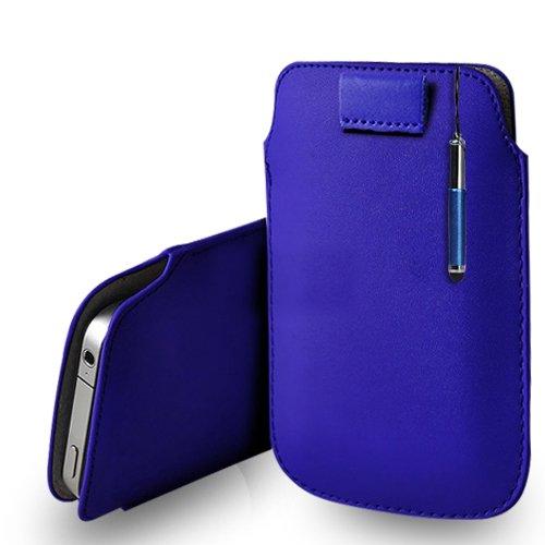 Huawei Ascend G620s Blue Leder Pull Tab Tasche Tasche + Retractable Stylus Pen & Poliertuch