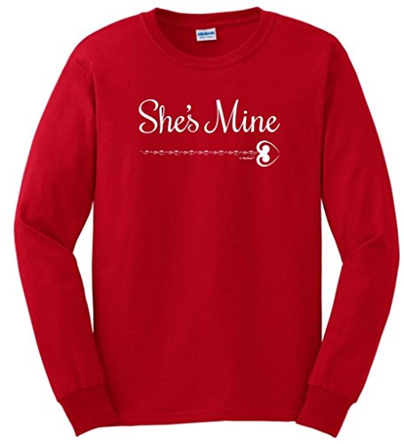 She'S Mine, Matching Couple'S Valentine'S Day Long Sleeve T-Shirt Medium Red