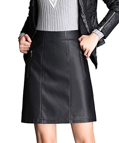 helan-femmes-taille-haute-zipper-decore-pu-cuir-court-jupes-noir-eu-42