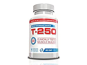 Testosterone Booster For Men- T-250, 120 Capsules, 30 Day Supply, Muscle Builder for Men All In One Supplement, Testosterone Booster For Men, Fat Burner For Men, Nitric Oxide For Men, Lose Your Gut, Full Body Muscle, Blast Your Biceps, Helps Get Powerful Legs, Muscle Up for Spring, Muscle Building Hack of 2015