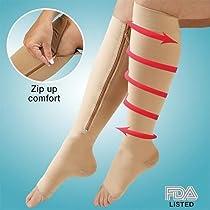 Large Zipper Easy On Compression Beige Socks