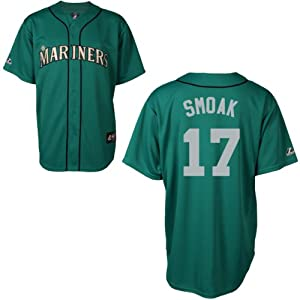 Justin Smoak Seattle Mariners Alternate Green Replica Jersey by Majestic by Majestic