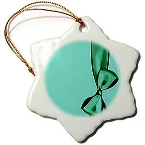 orn_33562_1 Jaclinart Girly Satin Bow Grunge Damask Fashion - Green faux satin bow on sea green grunge damask background - Ornaments - 3 inch Snowflake Porcelain Ornament